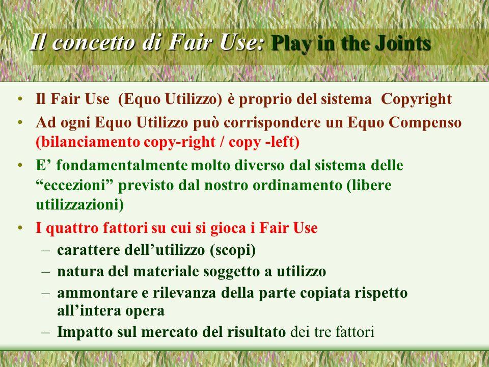 Il concetto di Fair Use: Play in the Joints Il Fair Use (Equo Utilizzo) è proprio del sistema Copyright Ad ogni Equo Utilizzo può corrispondere un Equ