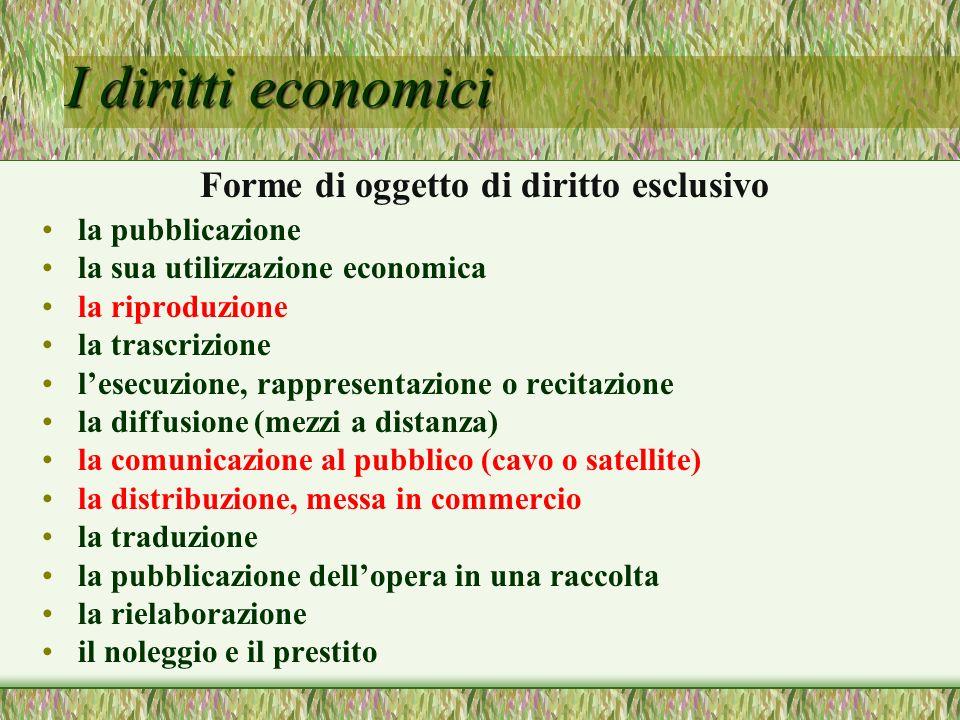 I diritti economici Forme di oggetto di diritto esclusivo la pubblicazione la sua utilizzazione economica la riproduzione la trascrizione lesecuzione,