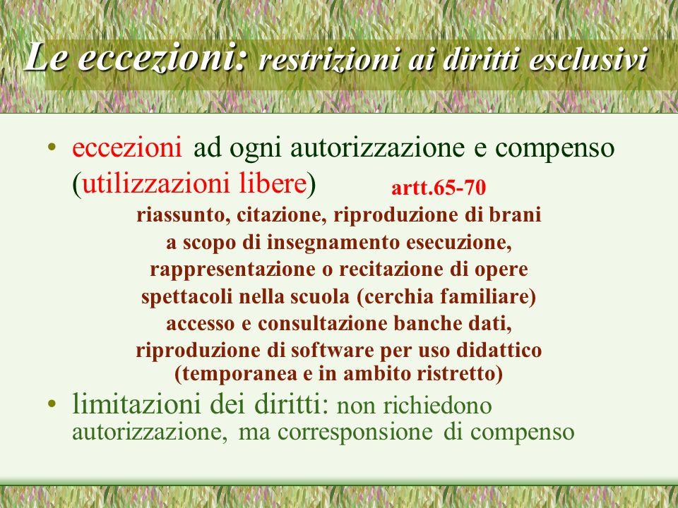 Le eccezioni: restrizioni ai diritti esclusivi eccezioni ad ogni autorizzazione e compenso (utilizzazioni libere) riassunto, citazione, riproduzione d