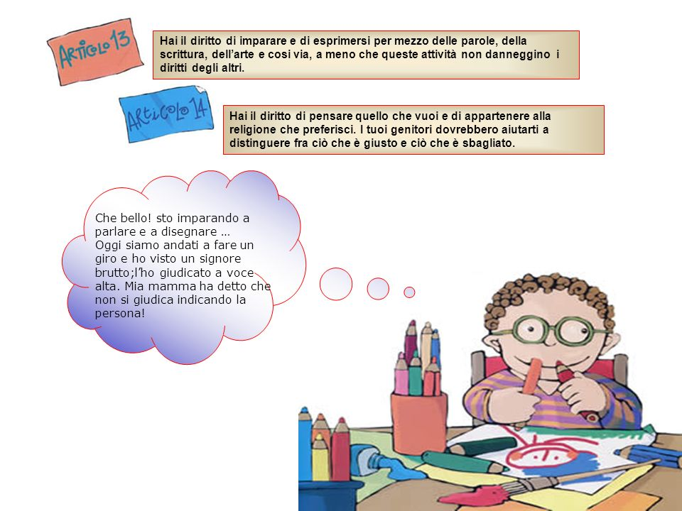 Hai il diritto di imparare e di esprimersi per mezzo delle parole, della scrittura, dellarte e cosi via, a meno che queste attività non danneggino i d
