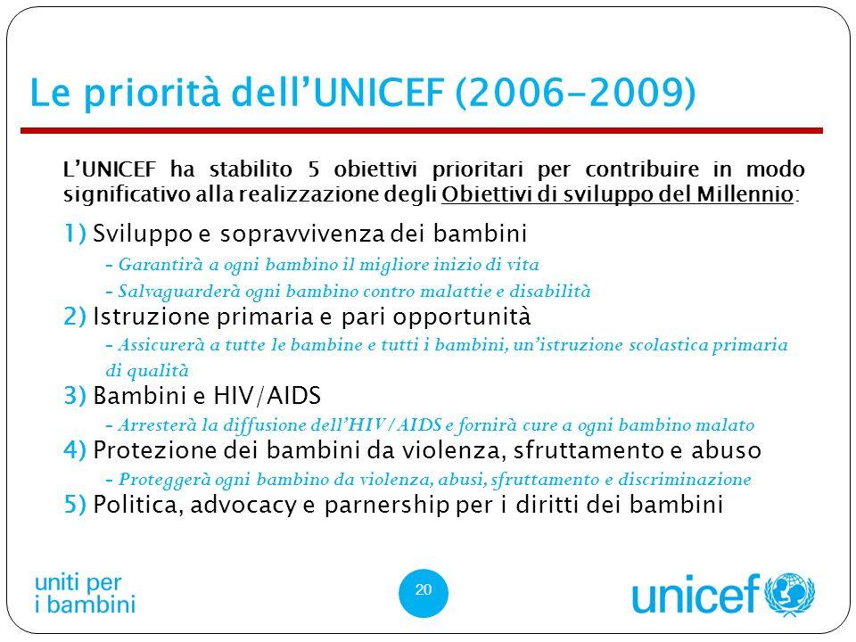 Le priorità dellUNICEF (2006-2009) LUNICEF ha stabilito 5 obiettivi prioritari per contribuire in modo significativo alla realizzazione degli Obiettivi di sviluppo del Millennio: 1) Sviluppo e sopravvivenza dei bambini - Garantirà a ogni bambino il migliore inizio di vita - Salvaguarderà ogni bambino contro malattie e disabilità 2) Istruzione primaria e pari opportunità - Assicurerà a tutte le bambine e tutti i bambini, unistruzione scolastica primaria di qualità 3) Bambini e HIV/AIDS - Arresterà la diffusione dellHIV/AIDS e fornirà cure a ogni bambino malato 4) Protezione dei bambini da violenza, sfruttamento e abuso - Proteggerà ogni bambino da violenza, abusi, sfruttamento e discriminazione 5) Politica, advocacy e parnership per i diritti dei bambini 20