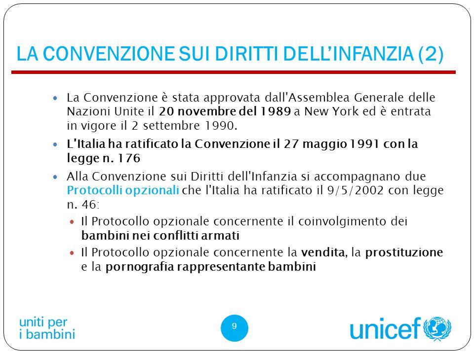 LA CONVENZIONE SUI DIRITTI DELLINFANZIA (2) La Convenzione è stata approvata dall Assemblea Generale delle Nazioni Unite il 20 novembre del 1989 a New York ed è entrata in vigore il 2 settembre 1990.