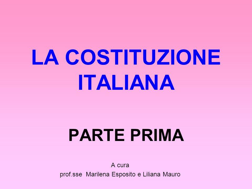 LA COSTITUZIONE ITALIANA PARTE PRIMA A cura prof.sse Marilena Esposito e Liliana Mauro