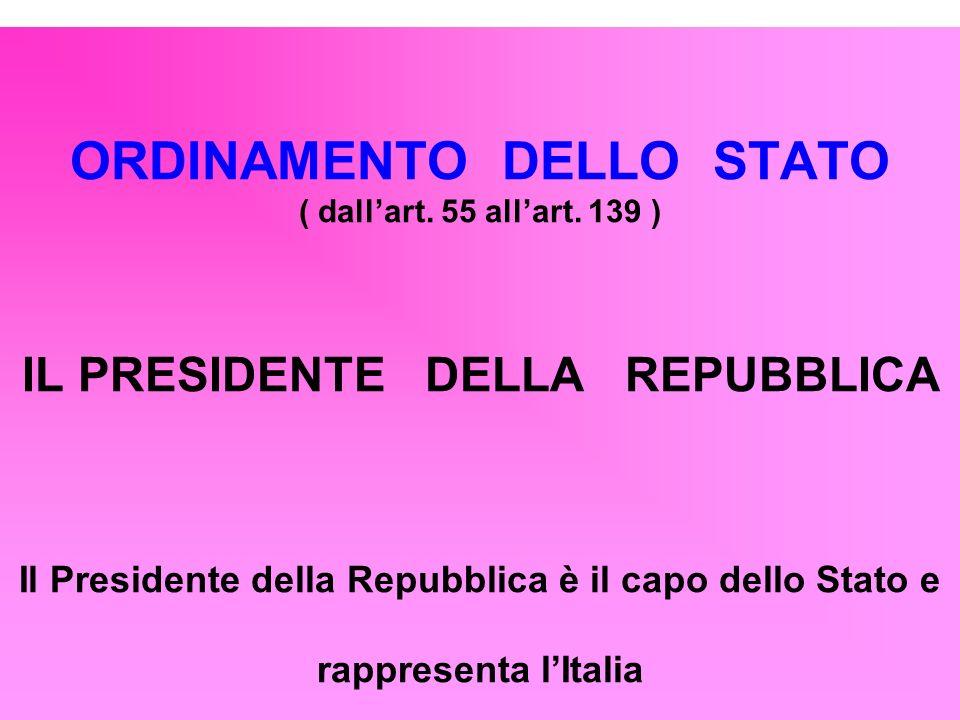 ORDINAMENTO DELLO STATO ( dallart. 55 allart. 139 ) IL PRESIDENTE DELLA REPUBBLICA Il Presidente della Repubblica è il capo dello Stato e rappresenta