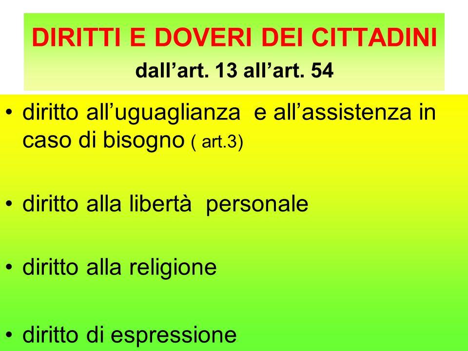 DIRITTI E DOVERI DEI CITTADINI dallart. 13 allart. 54 diritto alluguaglianza e allassistenza in caso di bisogno ( art.3) diritto alla libertà personal