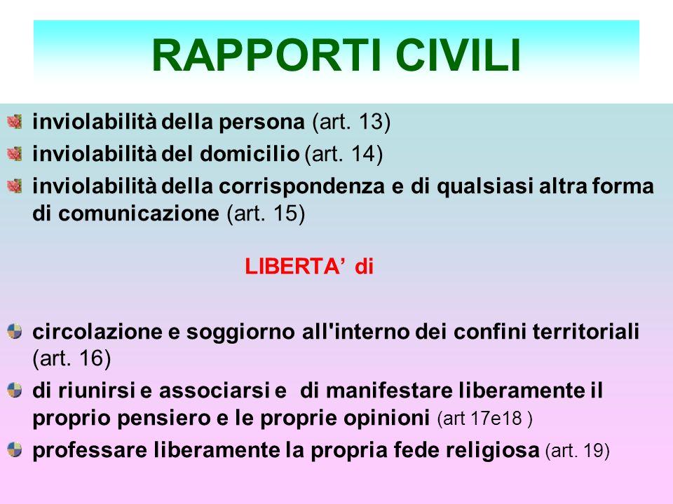 RAPPORTI CIVILI inviolabilità della persona (art. 13) inviolabilità del domicilio (art. 14) inviolabilità della corrispondenza e di qualsiasi altra fo