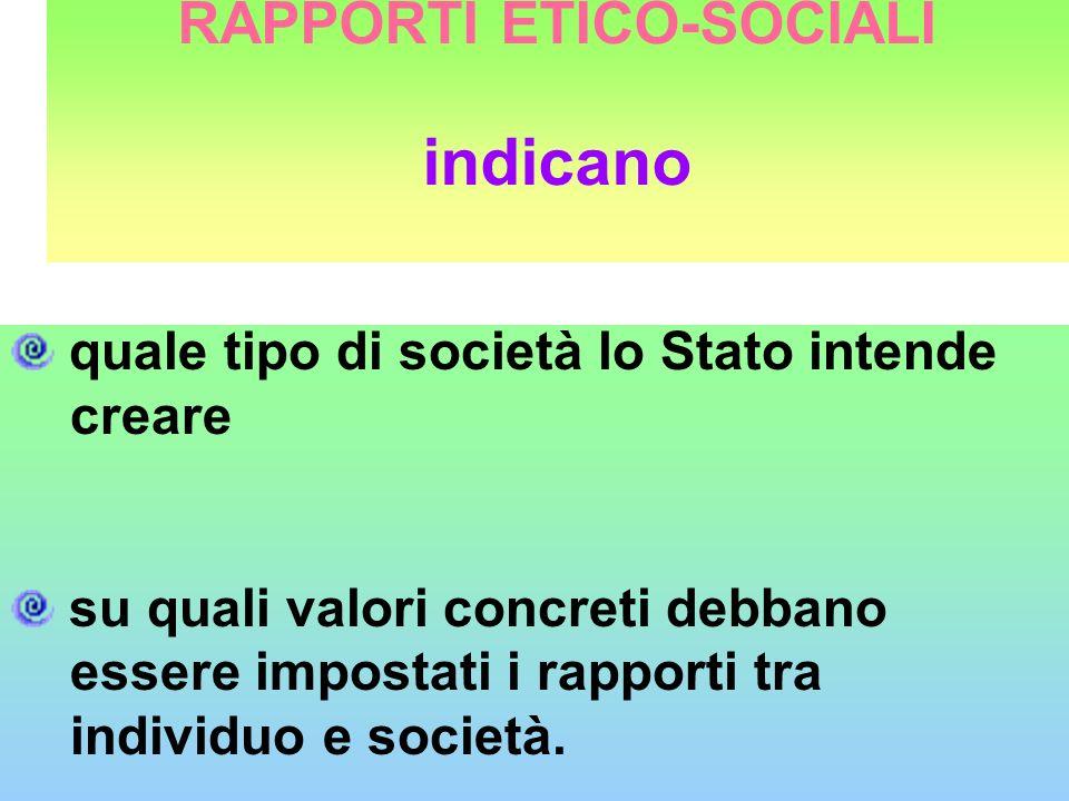 RAPPORTI ETICO-SOCIALI indicano quale tipo di società lo Stato intende creare su quali valori concreti debbano essere impostati i rapporti tra individ