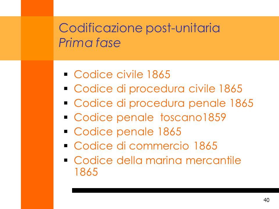41 Codificazione post-unitaria Seconda fase T.U.