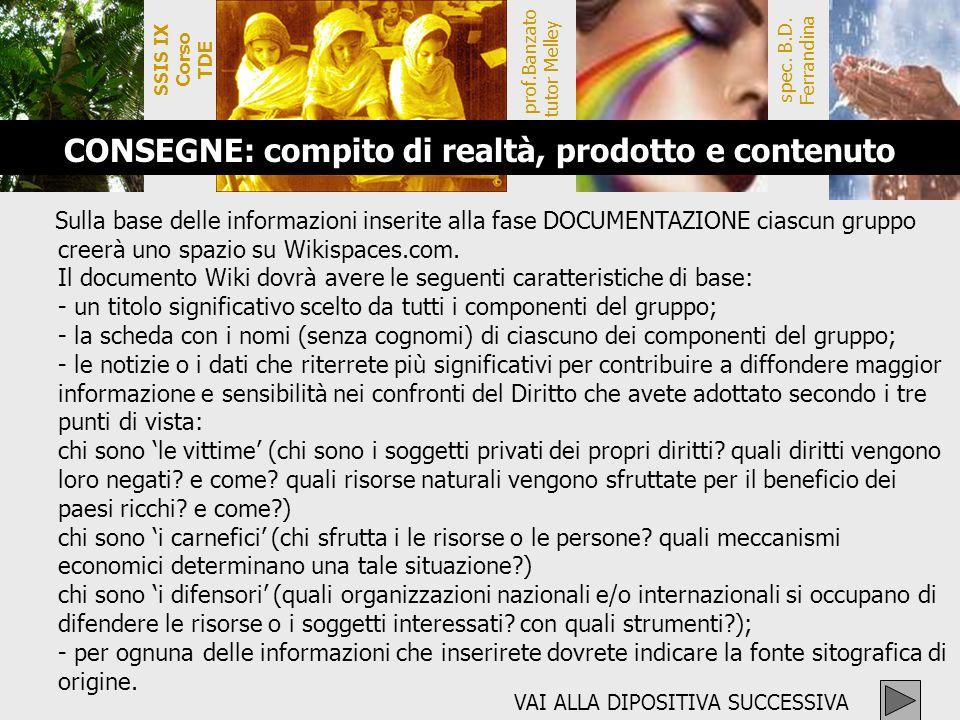 SSIS IX Corso TDE prof.Banzato tutor Melley spec. B.D. Ferrandina CONSEGNE: compito di realtà, prodotto e contenuto Sulla base delle informazioni inse