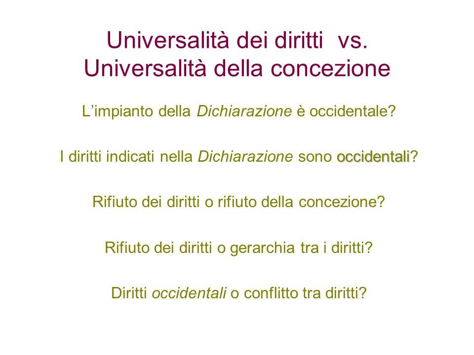 Universalità dei diritti vs. Universalità della concezione Limpianto della Dichiarazione è occidentale? occidentali I diritti indicati nella Dichiaraz