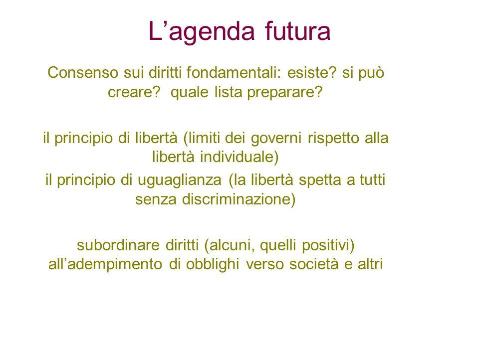 Lagenda futura Consenso sui diritti fondamentali: esiste? si può creare? quale lista preparare? il principio di libertà (limiti dei governi rispetto a
