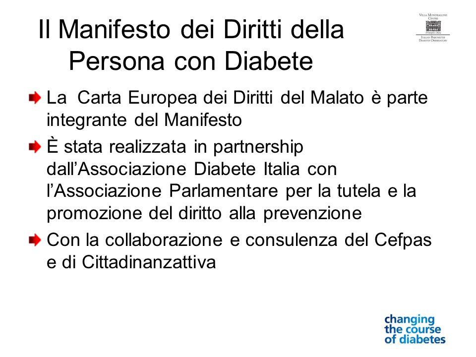 Il Manifesto dei Diritti della Persona con Diabete La Carta Europea dei Diritti del Malato è parte integrante del Manifesto È stata realizzata in part