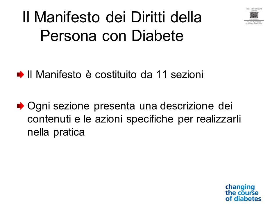 Il Manifesto dei Diritti della Persona con Diabete Il Manifesto è costituito da 11 sezioni Ogni sezione presenta una descrizione dei contenuti e le az