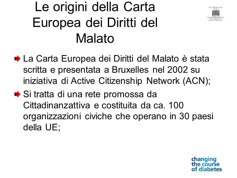 Le origini della Carta Europea dei Diritti del Malato La Carta Europea dei Diritti del Malato è stata scritta e presentata a Bruxelles nel 2002 su ini