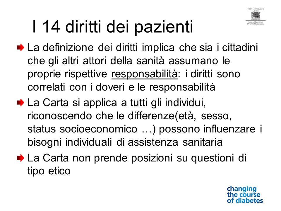 I 14 diritti dei pazienti La definizione dei diritti implica che sia i cittadini che gli altri attori della sanità assumano le proprie rispettive resp