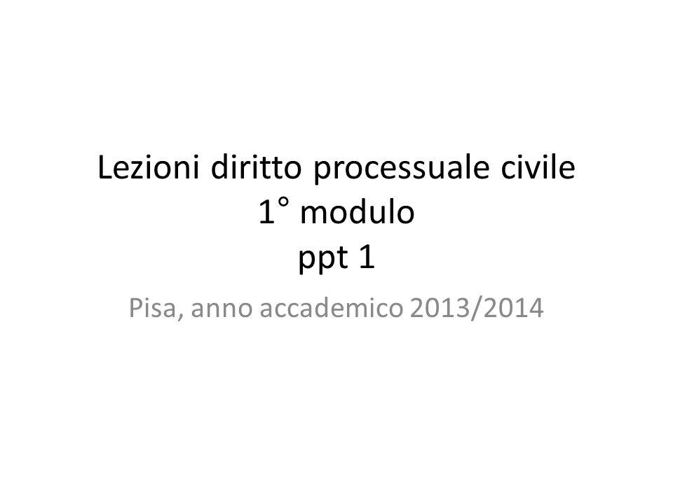 Lezioni diritto processuale civile 1° modulo ppt 1 Pisa, anno accademico 2013/2014