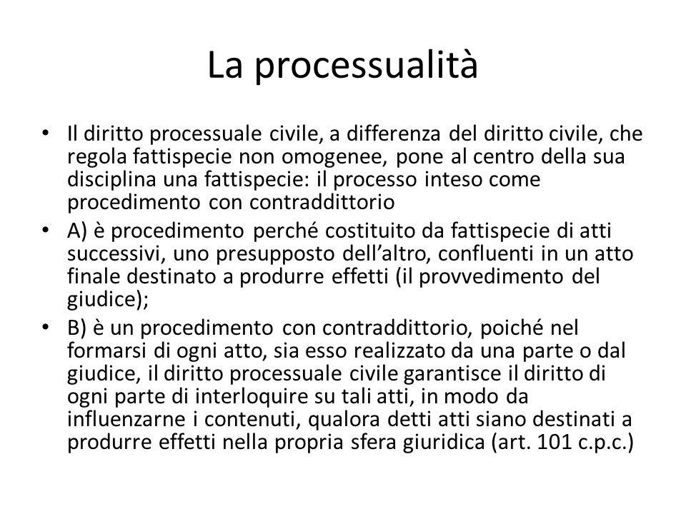 La processualità Il diritto processuale civile, a differenza del diritto civile, che regola fattispecie non omogenee, pone al centro della sua discipl