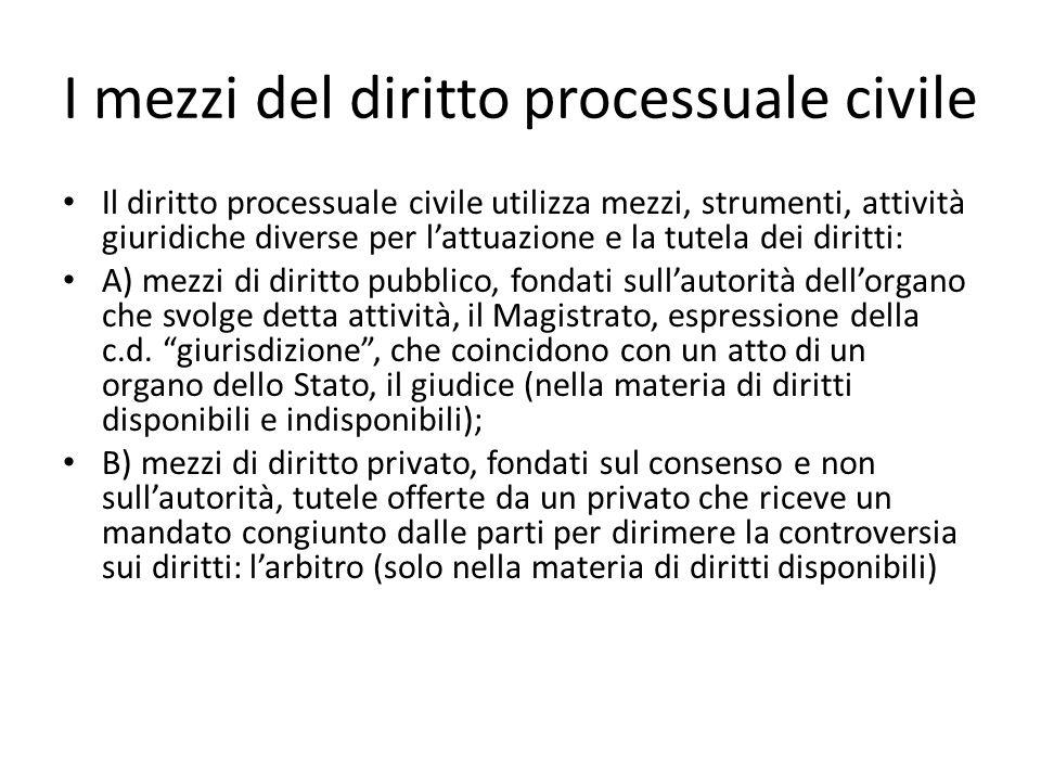 I mezzi del diritto processuale civile Il diritto processuale civile utilizza mezzi, strumenti, attività giuridiche diverse per lattuazione e la tutel