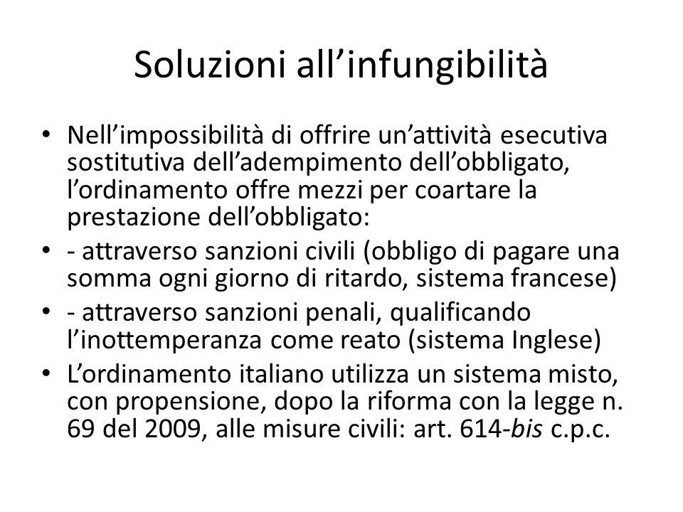 Soluzioni allinfungibilità Nellimpossibilità di offrire unattività esecutiva sostitutiva delladempimento dellobbligato, lordinamento offre mezzi per c
