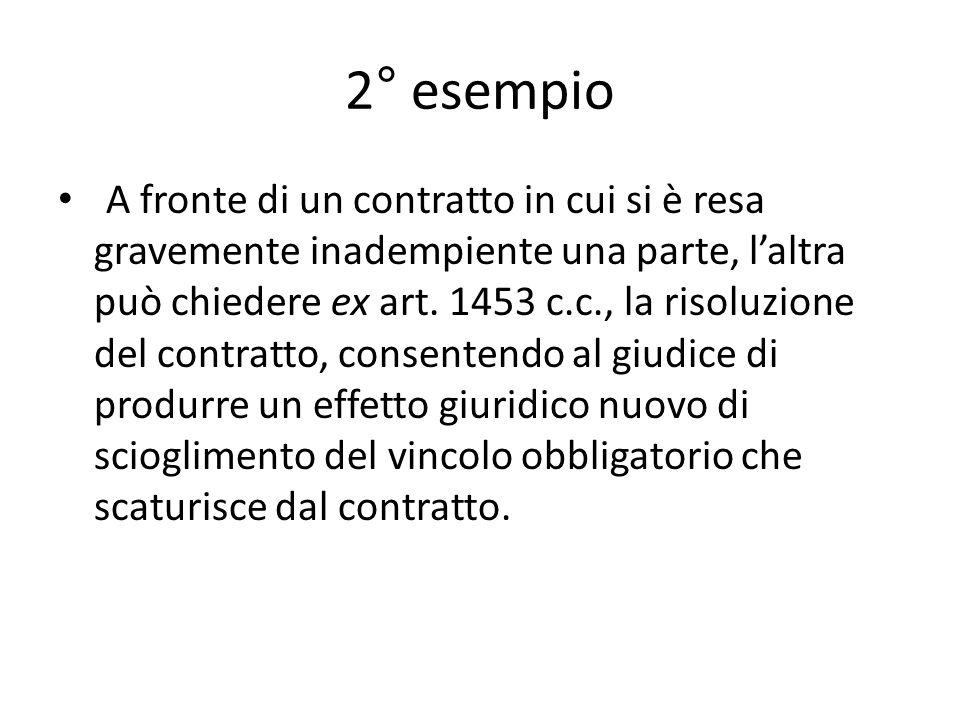 2° esempio A fronte di un contratto in cui si è resa gravemente inadempiente una parte, laltra può chiedere ex art. 1453 c.c., la risoluzione del cont