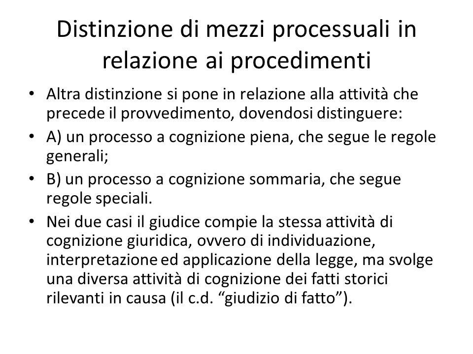 Distinzione di mezzi processuali in relazione ai procedimenti Altra distinzione si pone in relazione alla attività che precede il provvedimento, doven