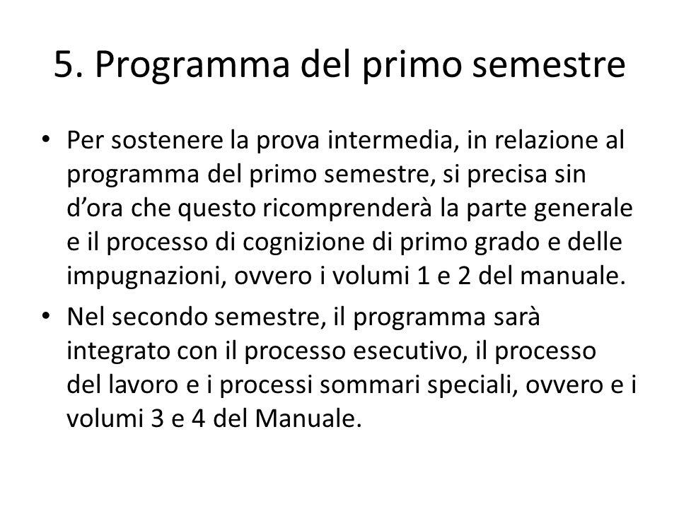 5. Programma del primo semestre Per sostenere la prova intermedia, in relazione al programma del primo semestre, si precisa sin dora che questo ricomp