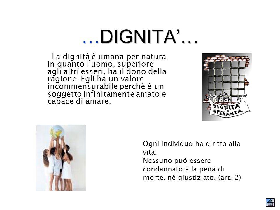 … DIGNITA… La dignità è umana per natura in quanto luomo, superiore agli altri esseri, ha il dono della ragione.