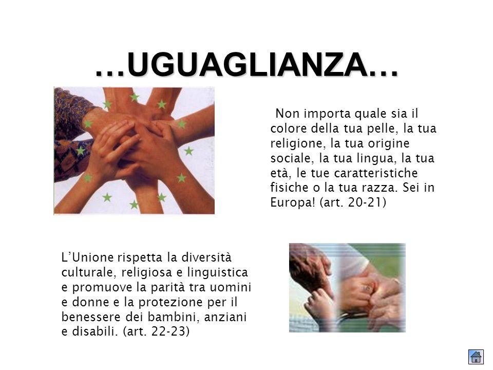 …UGUAGLIANZA… Non importa quale sia il colore della tua pelle, la tua religione, la tua origine sociale, la tua lingua, la tua età, le tue caratteristiche fisiche o la tua razza.