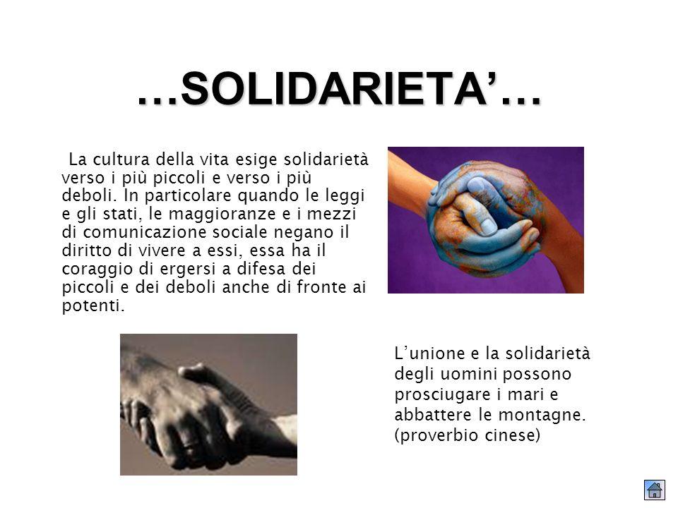 …SOLIDARIETA… La cultura della vita esige solidarietà verso i più piccoli e verso i più deboli.