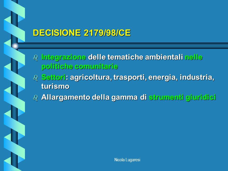 Nicola Lugaresi DECISIONE 2179/98/CE b Integrazione delle tematiche ambientali nelle politiche comunitarie b Settori: agricoltura, trasporti, energia,