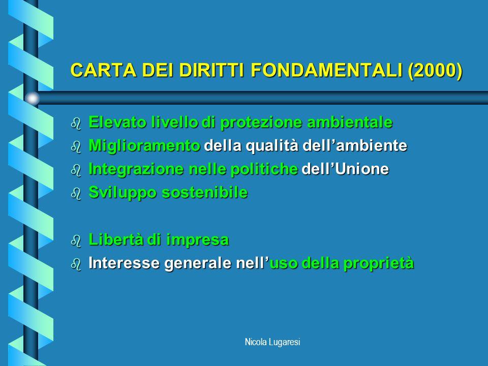 Nicola Lugaresi CARTA DEI DIRITTI FONDAMENTALI (2000) b Elevato livello di protezione ambientale b Miglioramento della qualità dellambiente b Integraz