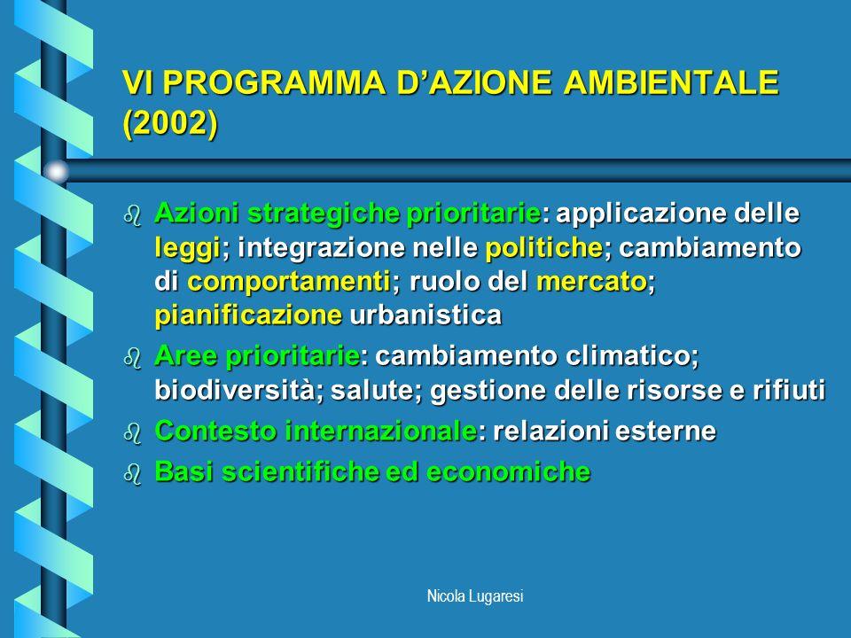 Nicola Lugaresi VI PROGRAMMA DAZIONE AMBIENTALE (2002) b Azioni strategiche prioritarie: applicazione delle leggi; integrazione nelle politiche; cambi