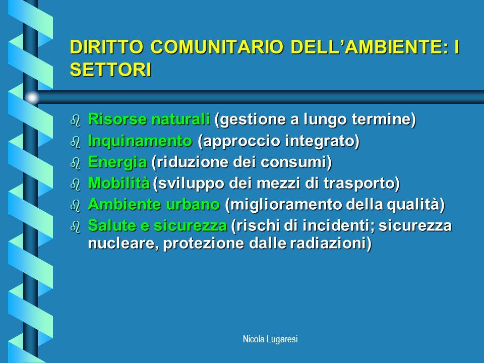 Nicola Lugaresi DIRITTO COMUNITARIO DELLAMBIENTE: I SETTORI b Risorse naturali (gestione a lungo termine) b Inquinamento (approccio integrato) b Energ