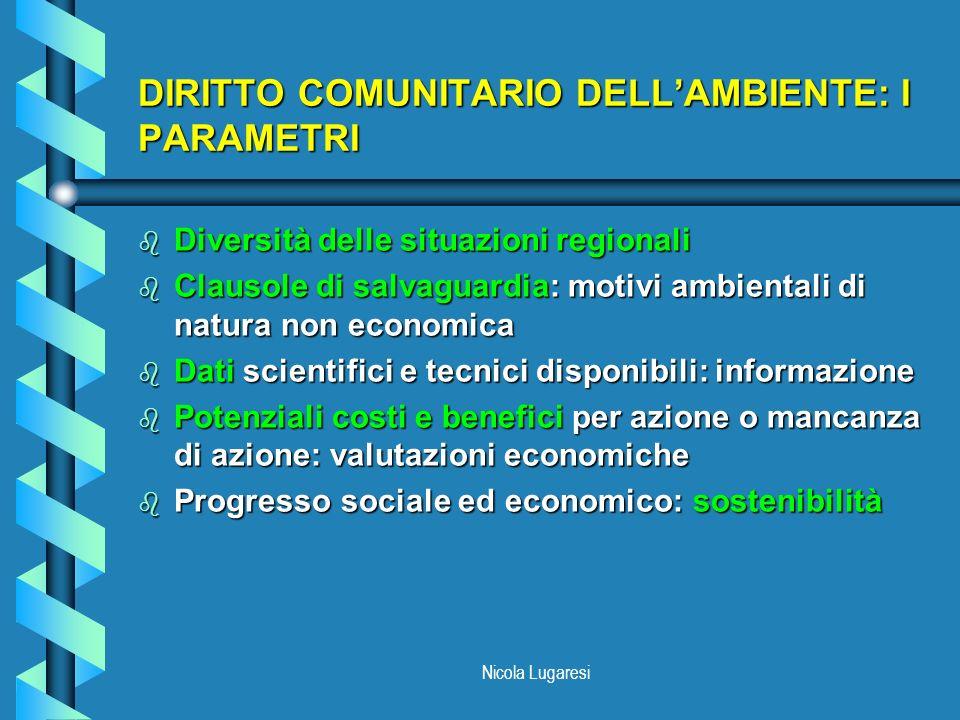 Nicola Lugaresi DIRITTO COMUNITARIO DELLAMBIENTE: I PARAMETRI b Diversità delle situazioni regionali b Clausole di salvaguardia: motivi ambientali di