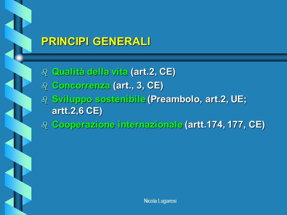 Nicola Lugaresi PRINCIPI GENERALI b Qualità della vita (art.2, CE) b Concorrenza (art., 3, CE) b Sviluppo sostenibile (Preambolo, art.2, UE; artt.2,6