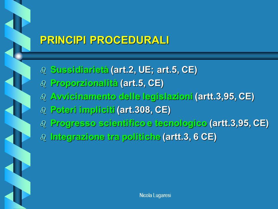 Nicola Lugaresi PRINCIPI PROCEDURALI b Sussidiarietà (art.2, UE; art.5, CE) b Proporzionalità (art.5, CE) b Avvicinamento delle legislazioni (artt.3,9