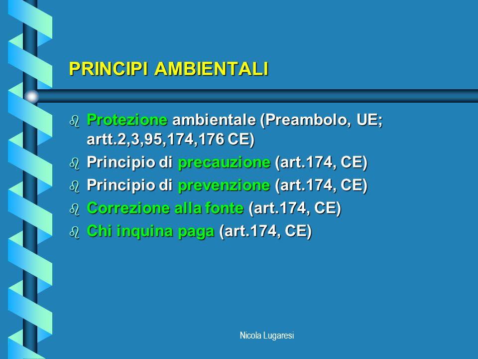 Nicola Lugaresi PRINCIPI AMBIENTALI b Protezione ambientale (Preambolo, UE; artt.2,3,95,174,176 CE) b Principio di precauzione (art.174, CE) b Princip