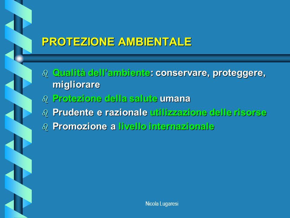 Nicola Lugaresi PROTEZIONE AMBIENTALE b Qualità dellambiente: conservare, proteggere, migliorare b Protezione della salute umana b Prudente e razional