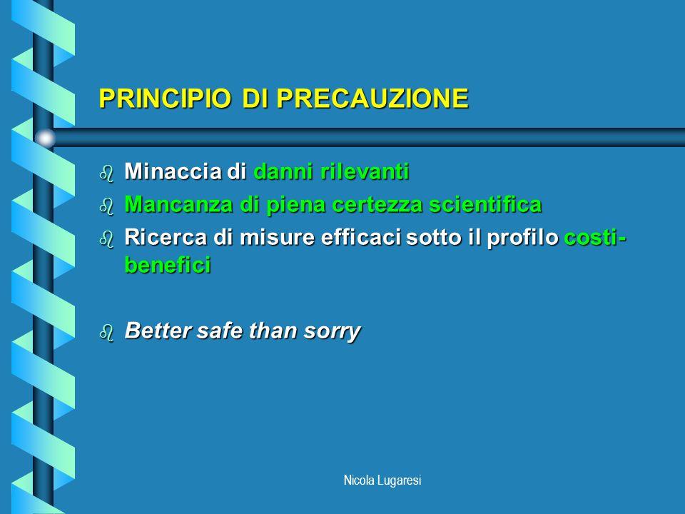 Nicola Lugaresi PRINCIPIO DI PRECAUZIONE b Minaccia di danni rilevanti b Mancanza di piena certezza scientifica b Ricerca di misure efficaci sotto il