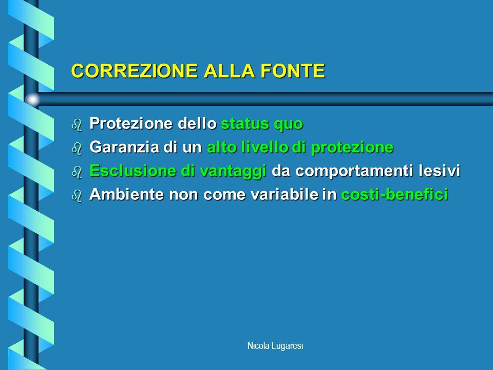 Nicola Lugaresi CORREZIONE ALLA FONTE b Protezione dello status quo b Garanzia di un alto livello di protezione b Esclusione di vantaggi da comportame