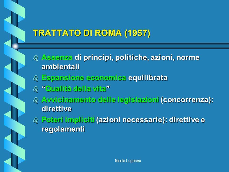 Nicola Lugaresi TRATTATO DI ROMA (1957) b Assenza di principi, politiche, azioni, norme ambientali b Espansione economica equilibrata bQualità della v