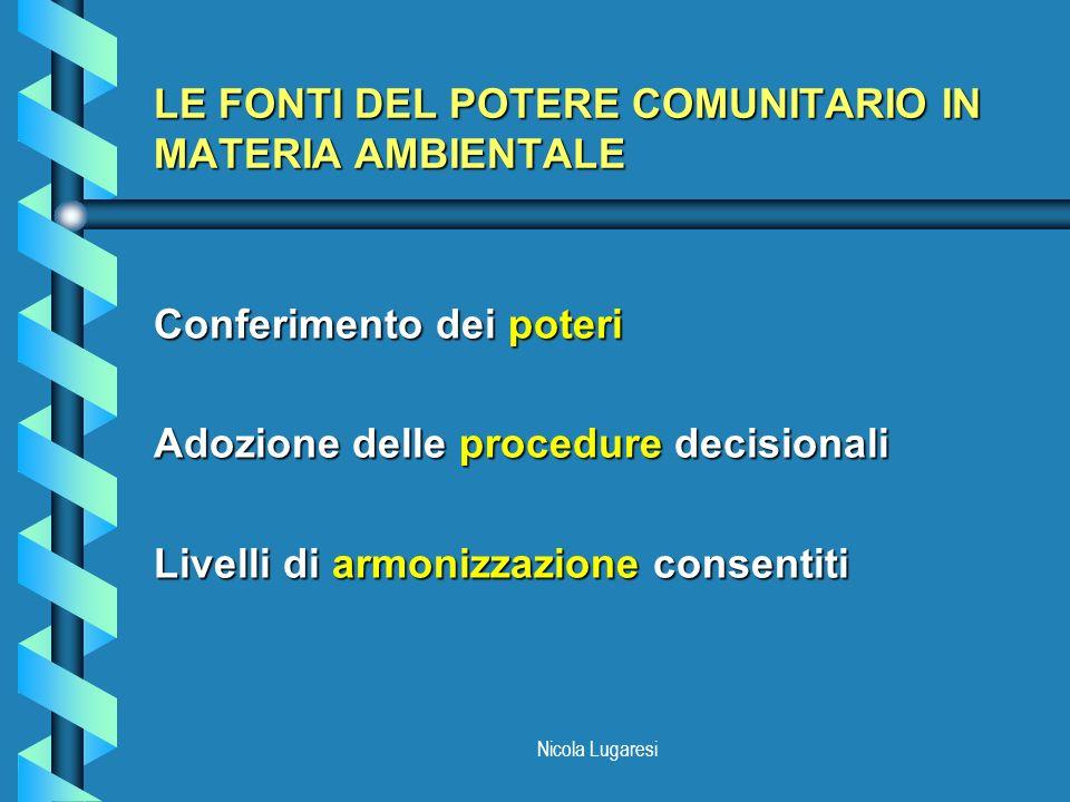 Nicola Lugaresi LE FONTI DEL POTERE COMUNITARIO IN MATERIA AMBIENTALE Conferimento dei poteri Adozione delle procedure decisionali Livelli di armonizz