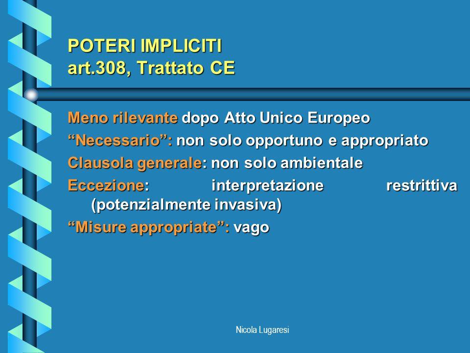 Nicola Lugaresi POTERI IMPLICITI art.308, Trattato CE Meno rilevante dopo Atto Unico Europeo Necessario: non solo opportuno e appropriato Clausola gen