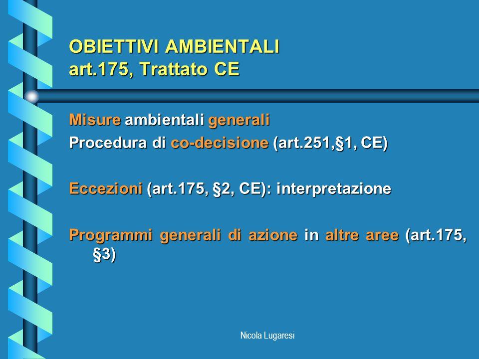 Nicola Lugaresi OBIETTIVI AMBIENTALI art.175, Trattato CE Misure ambientali generali Procedura di co-decisione (art.251,§1, CE) Eccezioni (art.175, §2