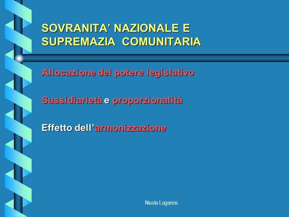Nicola Lugaresi SOVRANITA NAZIONALE E SUPREMAZIA COMUNITARIA Allocazione del potere legislativo Sussidiarietà e proporzionalità Effetto dellarmonizzaz
