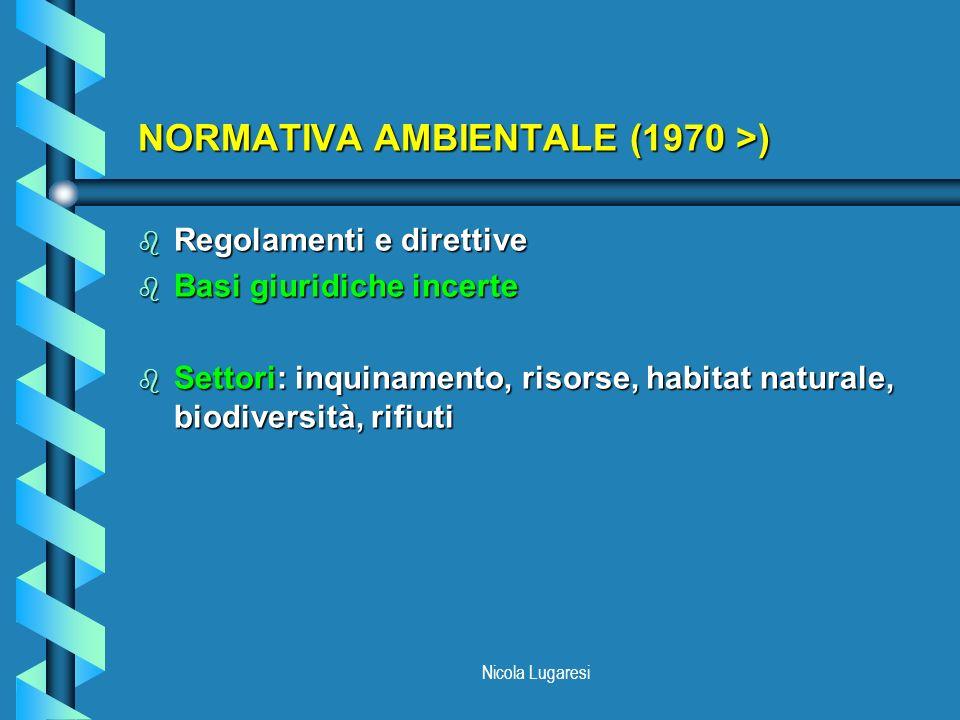Nicola Lugaresi PROGRAMMI DI AZIONE AMBIENTALE (1973 >) b 1970: memorandum (sottovalutazione dei bisogni ambientali) b 1971: comunicazione (livello comunitario invece di accordi tra singoli Stati) b 1972: dichiarazione b Contenuto: azioni coerenti in un quadro normativo (inesistente) b Programmi dazione tradizionali: 1973, 1977, 1983, 1987