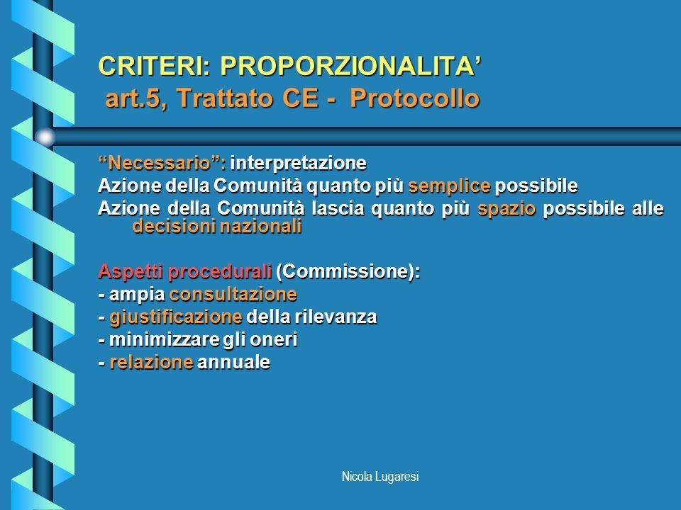 Nicola Lugaresi CRITERI: PROPORZIONALITA art.5, Trattato CE - Protocollo Necessario: interpretazione Azione della Comunità quanto più semplice possibi