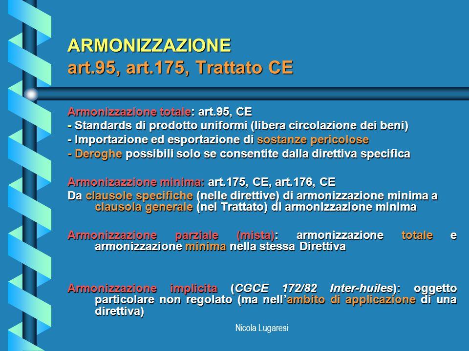 Nicola Lugaresi ARMONIZZAZIONE art.95, art.175, Trattato CE Armonizzazione totale: art.95, CE - Standards di prodotto uniformi (libera circolazione de