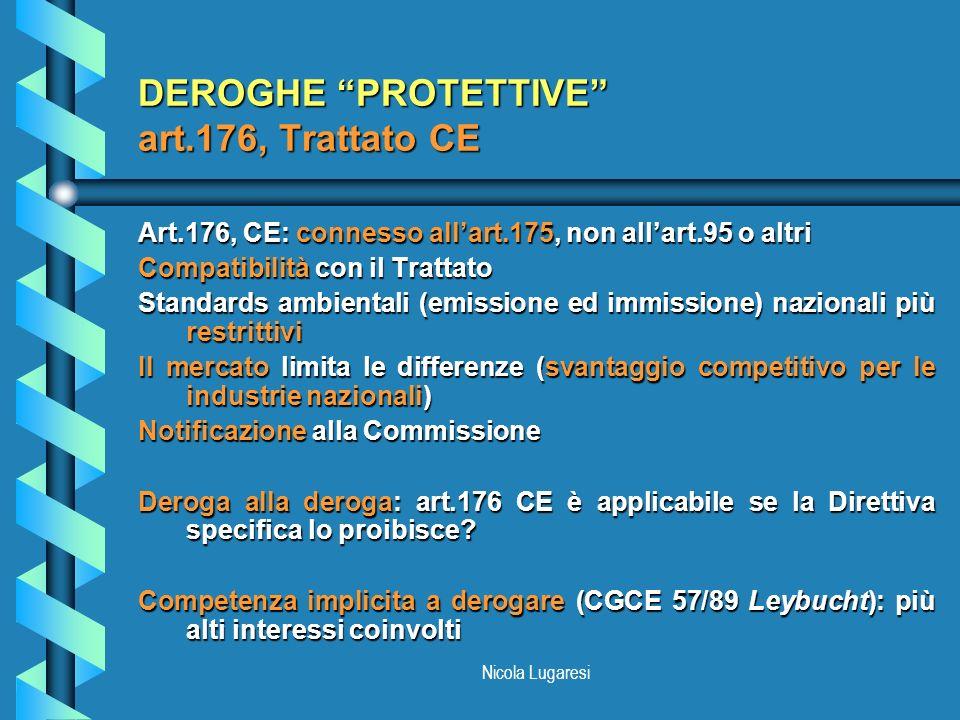 Nicola Lugaresi DEROGHE PROTETTIVE art.176, Trattato CE Art.176, CE: connesso allart.175, non allart.95 o altri Compatibilità con il Trattato Standard