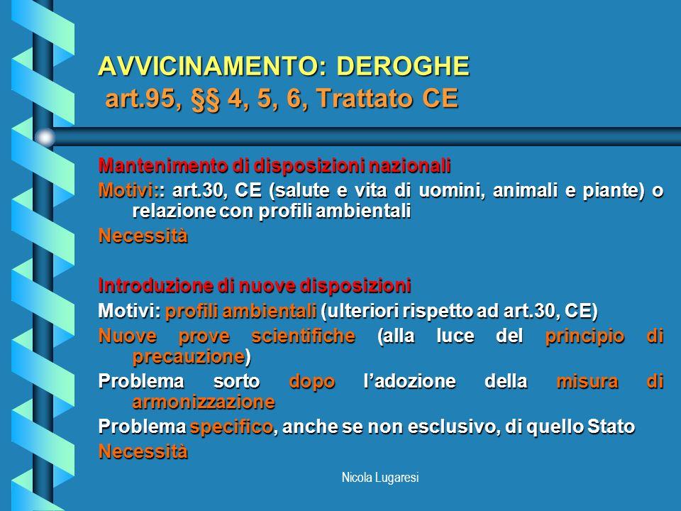 Nicola Lugaresi AVVICINAMENTO: DEROGHE art.95, §§ 4, 5, 6, Trattato CE Mantenimento di disposizioni nazionali Motivi:: art.30, CE (salute e vita di uo